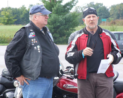 Hodgenville Police Chief Steve Johnson, left, and William Claggett, a retired Kentucky State Police sergeant, of Elizabethtown were among the participants in the Deputy Anthony Rakes Memorial Ride on Saturday.