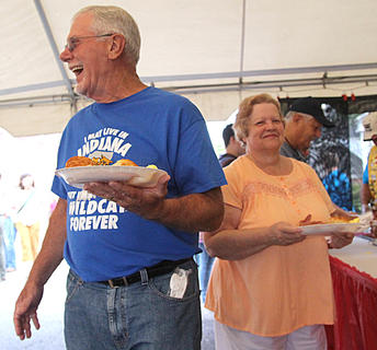 "Frank and Kathy Mattingly of Yorktown, Indiana, are having fun even before they eat their country ham breakfast. ""We make this an annual pilgrimage,"" Frank Mattingly said."