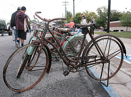 A collection of old bicycles was on display near the Marion County Judicial Center on Saturday.