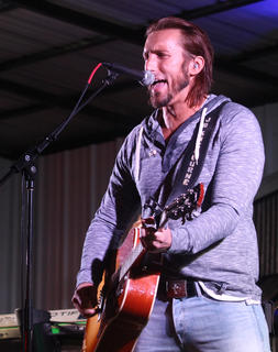 J.D. Shelburne performs on the Maker's Mark/Kentucky Cooperage Main Stage Saturday night.