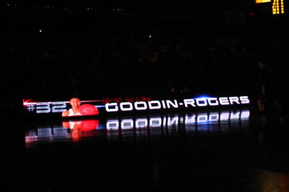 Kyvin Goodin-Rogers, along with the other starters, were introduced before the championship game as their name appeared on the signs on each side of the court.