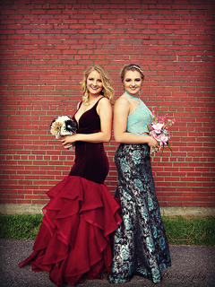 Best friends Natalie Newton and Mckenna Bartley look stunning for their senior prom at Marion County High School.