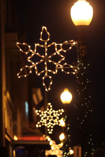 Lighted snowflakes decorate light posts in downtown Lebanon.
