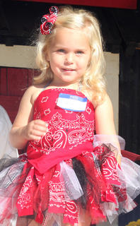 Rilee Ann Hunt shows off her festive Ham Days outfit during the Little Miss Ham Days contest.