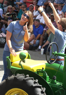 It's not a parade without a proposal. Trey Abell made a quick pit stop during the PIGasus Parade to propose to his girlfriend, Laura Bandy. She said yes.