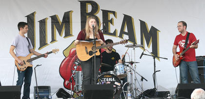 Allison Stafford and No Deceit from Bradfordsville perform on the Jim Beam/Kentucky Cooperage Main Stage Saturday afternoon. They also finshed second in the MIKE FM Battle of the Bands that evening at Centre Square.