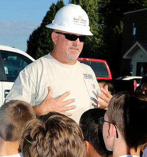 Inter County Energy's Safety Loss and Control Coordinator Charlie Lewis and talks to students about the dangers touching power lines. Lewis said the group of students at Ag Safety were the best-behaved group of kids he's ever had while participating in safety programs. He was extremely impressed.