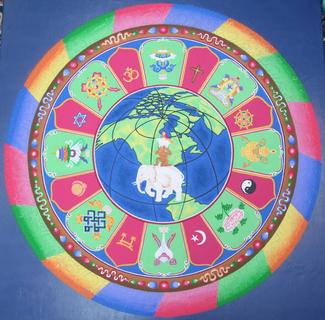 This was what the mandala sand painting looked like after three days of work.