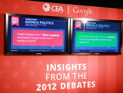 A display set up on campus showed some trends on Google during the debate.
