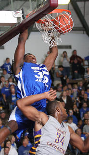 Kenneth Faried dunks the ball during the Big Blue All-Stars game.