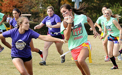 Taylor Simpson protects the ball and tries to make it past sophomore defenders McKenna Bartley, Jordan Hallmark, and Laney Hall. Also pictured are Tori Rawlings and Maleah Williams.