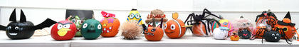 This composite photo shows all the pumpkins created by the St. Augustine preschoolers and their families.