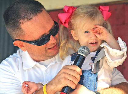 Paisley Thompson competes in the Little Miss Ham Days competition on Saturday morning.