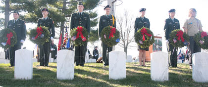 Wreaths were placed for every branch of the military and for veterans who were prisoners of war or missing in action.