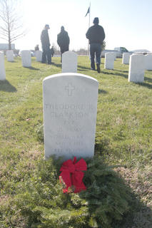 Hundreds of volunteers placed wreaths on the hundreds of graves throughout the cemetery.