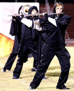 Lexy Cambron and Lauran Knott play their flutes.