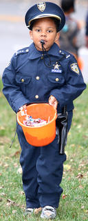 """Montraze """"Bubba"""" Churchill was dressed as a police officer from head to toe Saturday evening."""