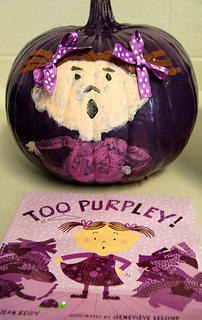 """'Too Purpley!"""" by Jean Reidy was the inspiration for this pumpkin. In the book, there is not a single outfit in the closet that this little fashion plate wants to wear. She tries on everything, but nothing is quite right."""
