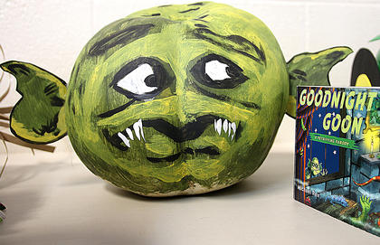 """""""Goodnight Goon: a Petrifying Parody"""" was the inspiration behind this pumpkin."""