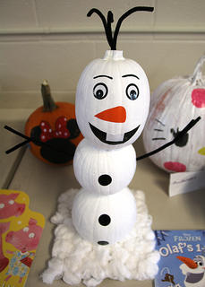 """""""Olaf's 1-2-3"""" inspired this pumpkin, which is based on the insanely popular film """"Frozen."""""""