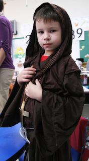 St. Augustine Grade School celebrated All Saints Day on Nov. 1. Kindergarten and first-grade students dressed as saints to mark the occasion. Hudson Livers is ready to portray St. Francis of Assisi.