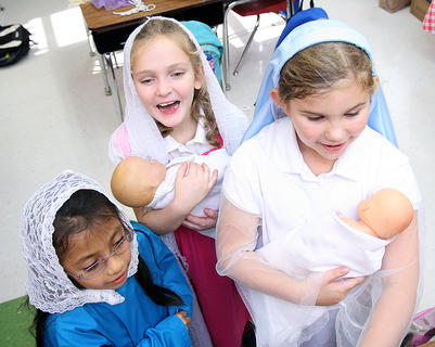 Julianna Dixon, Addison Thomas and Zoey Blair all portrayed Mary, the mother of Jesus.