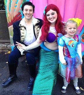 Adalyn Higdon, 4, dressed up as Rainbow Dash from My Little Pony and Carrie Fowler of Lebanon was dressed as Ariel the mermaid at the Louisville Zoo's Halloween party.