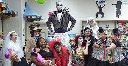 """The wacky bunch at the Marion County Public Library dressed up on the Wednesday prior to Halloween for the children at Toddler Tales.The staff's theme was """"A Day of Tim Burton."""" Pictured, from left, are Stephanie Smothers (The Corpse Bride), Amelia Bradshaw (The Cheshire Cat), Amy Morgeson (The Mad Hatter), Morgan Trigg (The Queen of Hearts), Terry Brockman (Jack Skellington), Jama Watts (Lydia Deets from Beetlejuice), Angela Selter (Sally from Nightmare Before Christmas), Sandy Nunley (Edward Scissorhands), Amanda Morgeson (The White Queen from Alice in Wonderland), Elaine Rahn (Tweedle Dee) and Patty Brown (Tweedle Dum)."""