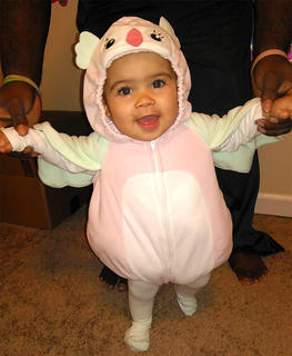 Alexandria Flowers, 7 months old, dressed as a baby owl for Halloween. She is the daughter of Lisa Sallee and Bernard Flowers.
