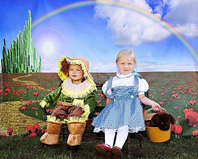 Matthew Sapp, 1, and his sister, Madeline, 3, dressed as the Scarecrow and Dorothy from the Wizard of Oz for Halloween.