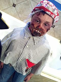 Kieran Jones, 6, dressed as a zombie, which was his first ever scary costume.