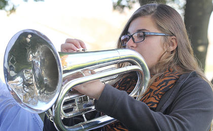 Alexis Hayden plays the baritone with the MCHS band.