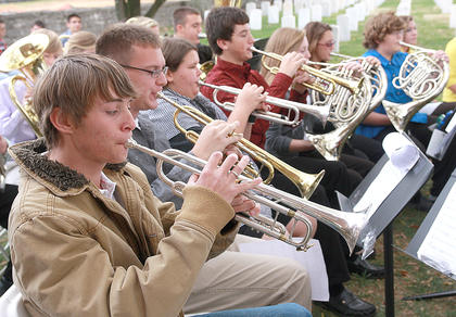 The Marion County High School band played a selection of patriotic songs.