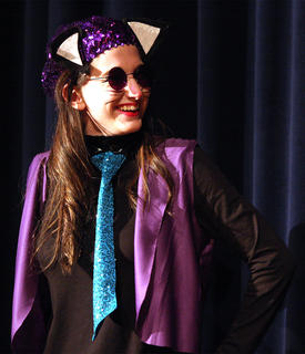 Alley cat Presley Wilson laughs at her brother, Bobby Wilson, who plays the part of Thomas O'Malley, the friendly alley cat who befriends the Aristocats and falls in love with Duchess.