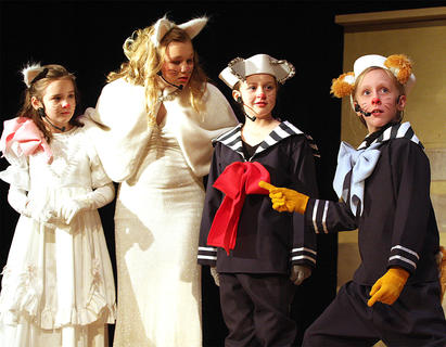 Pictured, from left, are Abigail Adams (as Marie), Jane Palagi (as Duchess, mother of the three kittens), Chloe Allen (as Berlioz) and Gracie Wilson (as Toulouse). Toulouse is the oldest kitten and acts very tough at times and often gets on Marie's and Berlioz's nerves.