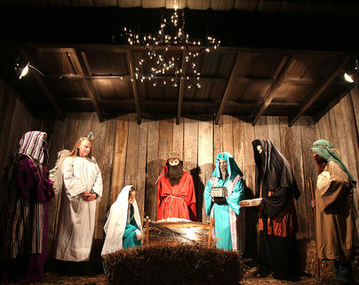 Members of the Lebanon United Methodist Church take part in a live nativity scene during Dickens Christmas.
