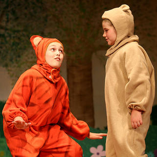 Pictured are Tigger, played by Izzy Lyvers, and Winnie the Pooh, played by Mya Kehm.