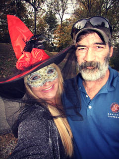 Lisha Mitchell and Norman Mitchell are all ready to take their daughters trick or treating. Lisha is dressed as a witch and Norman is dressed as a barrel line inspector. Ha!