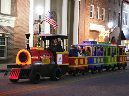 Trackless train rides on Main Street were very popular among the children at Dickens Christmas Friday evening.