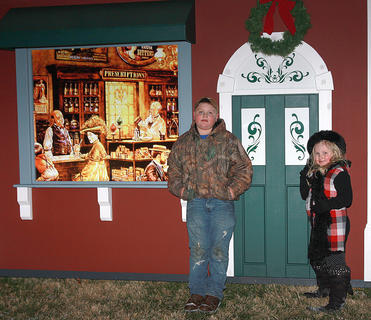 Waylon, 9, and Whitley Young, 6, check out the South Pole Pharmacy.