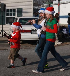 One of the award winners in this year's parade was the entry of Kalee Mills (red hat), Tiffany Clarkson (blue hat) and Michael Kyle Clarkson.