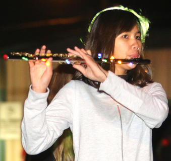 Tessa Hillman plays the flute with the Marion County High School Marching Knights Band.