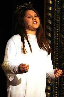 Shania Hallmark plays the part of Maxine who narrates the Christmas story in the pageant.