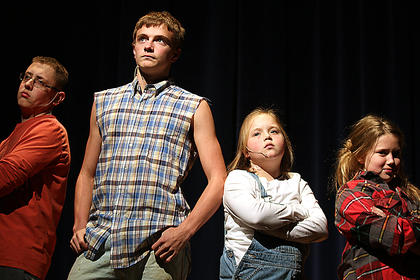 Pictured, from left, are Zachary Brady playing the part of Leroy Herdman, Bobby Wilson playing the part of Ralph Herdman, Ally Mattingly playing the part of Imogene Herdman and Sydnie Mattingly playing the part of Claudia Herdman.