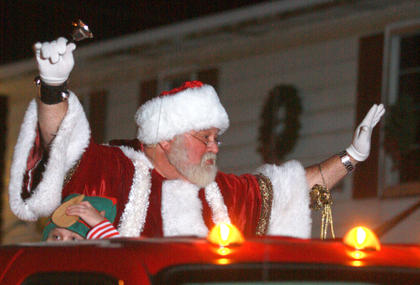 Santa, who is quite busy at this time of year, makes an appearance in the Bradfordsville parade.