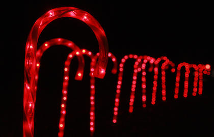 A trail of candy canes was part of Christmas decorations on display.