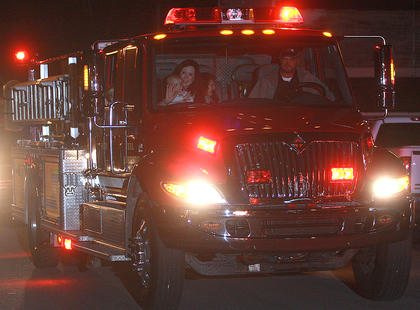 Bradfordsville fire trucks were among the emergency vehicles that led the parade.