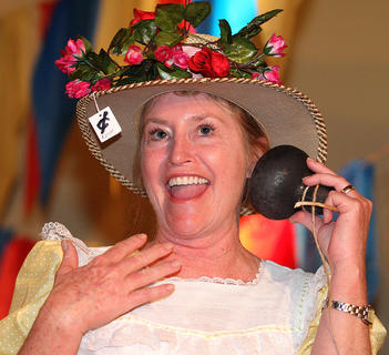 Charlotte Brady Mattingly plays the part of Minnie Pearl.