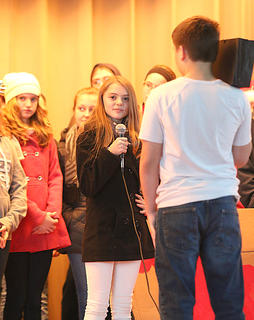 Katelynn Mattingly plays a reporter who witnesses Santa's sleigh lift from the ground.
