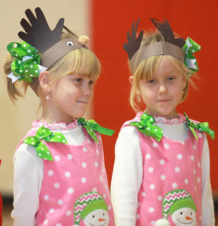Piper and Phebe Jones were dressed for the Christmas season.